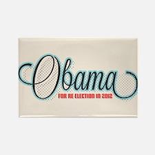 Obama 2012 Halftone Rectangle Magnet
