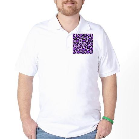 Purple Leopard Print Pattern Golf Shirt