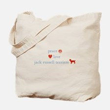 Peace, Love & Jack Russell Terrier Tote Bag