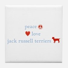 Peace, Love & Jack Russell Terrier Tile Coaster