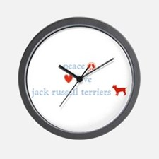 Peace, Love & Jack Russell Terrier Wall Clock