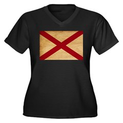Alabama Flag Women's Plus Size V-Neck Dark T-Shirt