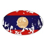 Laos Flag Sticker (Oval)