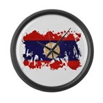 Laos Flag Large Wall Clock