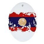 Laos Flag Ornament (Oval)