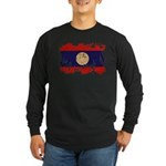 Laos Flag Long Sleeve Dark T-Shirt