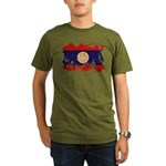 Laos Flag Organic Men's T-Shirt (dark)
