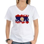 Laos Flag Women's V-Neck T-Shirt