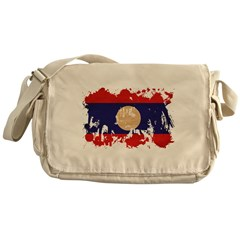 Laos Flag Messenger Bag
