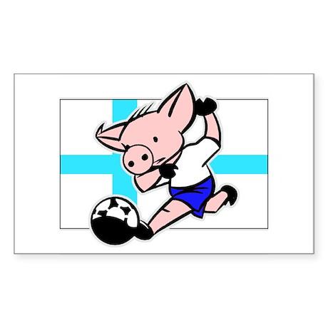 Finland Soccer Pigs Rectangle Sticker