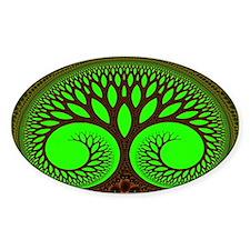 """Tree 2"" Fractal Art Oval Decal"