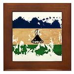 Lesotho Flag Framed Tile