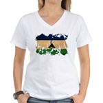 Lesotho Flag Women's V-Neck T-Shirt