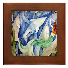 Dolphins Framed Tile