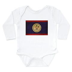 Belize Flag Long Sleeve Infant Bodysuit