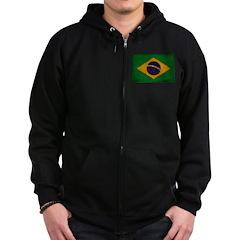 Brazil Flag Zip Hoodie (dark)