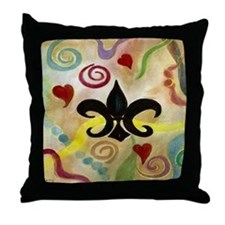 FLEUR DE LIS AND HEARTS Throw Pillow