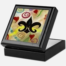FLEUR DE LIS AND HEARTS Keepsake Box