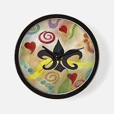 FLEUR DE LIS AND HEARTS Wall Clock