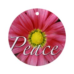 Pink Flower Peace Ornament (Round)