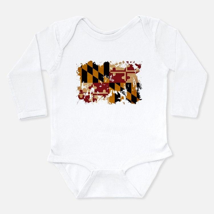 Maryland Flag Long Sleeve Infant Bodysuit