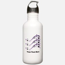 Musical Notes and Text. Water Bottle