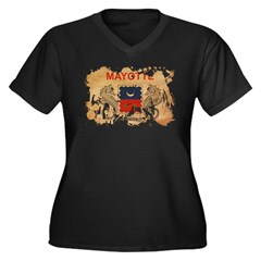 Mayotte Flag Women's Plus Size V-Neck Dark T-Shirt