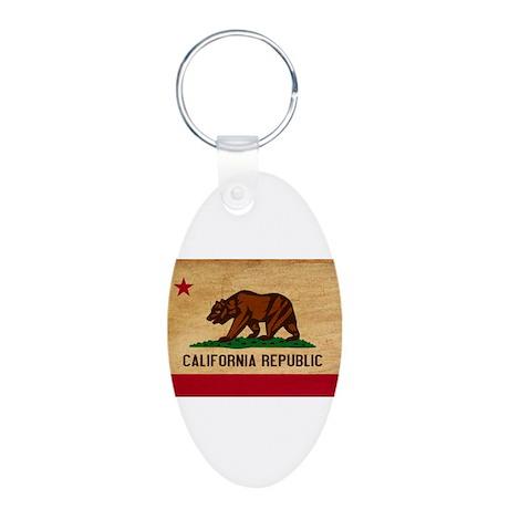 California Flag Aluminum Oval Keychain