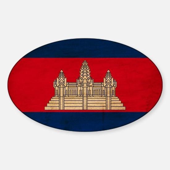 Cambodia Flag Sticker (Oval)