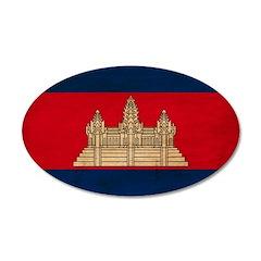 Cambodia Flag 38.5 x 24.5 Oval Wall Peel