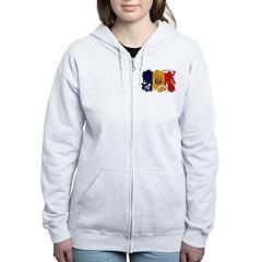 Moldova Flag Zip Hoodie