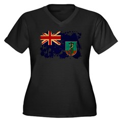 Montserrat Flag Women's Plus Size V-Neck Dark T-Sh