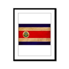 Costa Rica Flag Framed Panel Print