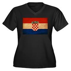 Croatia Flag Women's Plus Size V-Neck Dark T-Shirt