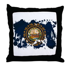 New Hampshire Flag Throw Pillow