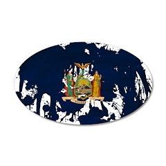 New York Flag 38.5 x 24.5 Oval Wall Peel