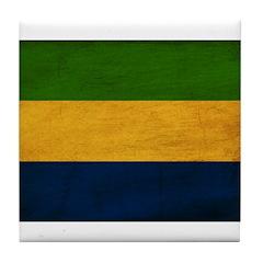 Gabon Flag Tile Coaster