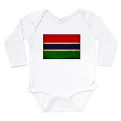 Gambia Flag Long Sleeve Infant Bodysuit
