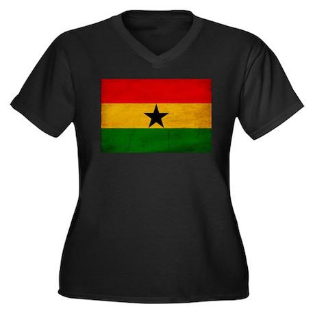 Ghana Flag Women's Plus Size V-Neck Dark T-Shirt