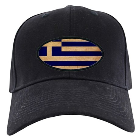 Greece Flag Black Cap