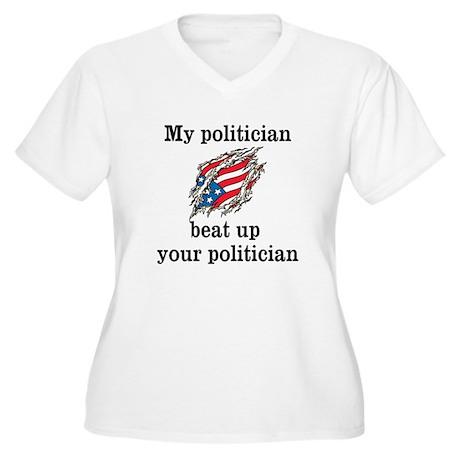 Beaten at Politics Plus Size V-Neck T-Shirt