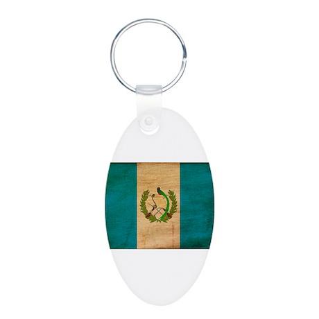 Guatemala Flag Aluminum Oval Keychain
