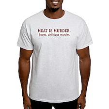 Meat is Murder. Ash Grey T-Shirt