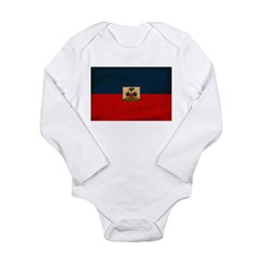 Haiti Flag Long Sleeve Infant Bodysuit