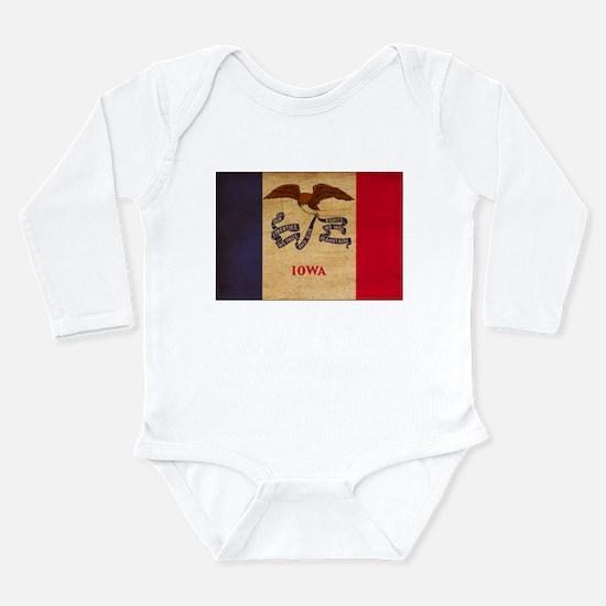 Iowa Flag Long Sleeve Infant Bodysuit