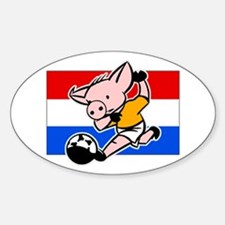 Netherlands Soccer Pigs Oval Decal