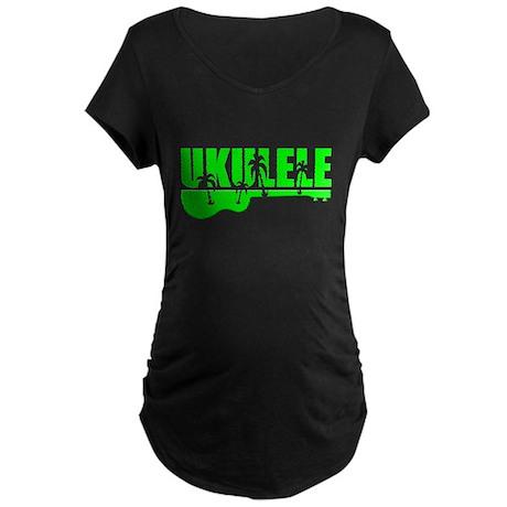 Hawaiian Ukulele Maternity Dark T-Shirt