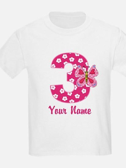3rd Birthday Butterfly T-Shirt