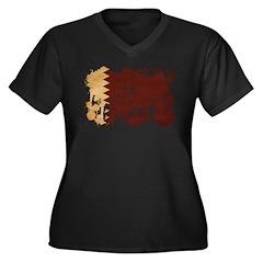 Qatar Flag Women's Plus Size V-Neck Dark T-Shirt