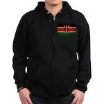 Kenya Flag Zip Hoodie (dark)